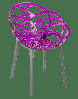 Кресло Papatya Flora прозрачно-пурпурное сиденье, низ антрацит, фото 1