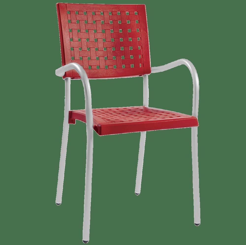 Кресло Papatya Karea красный, база алюминий