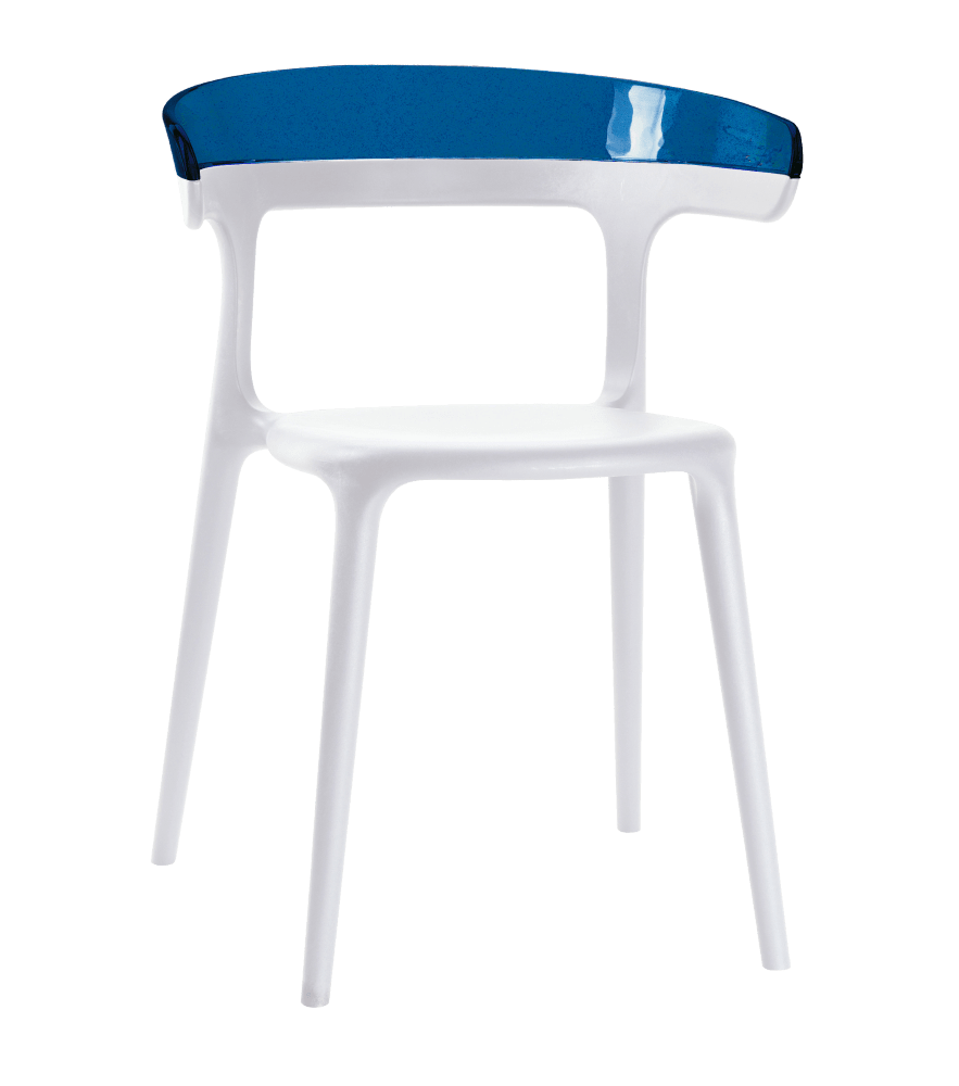 Кресло Papatya Luna белое сиденье, верх прозрачно-синий