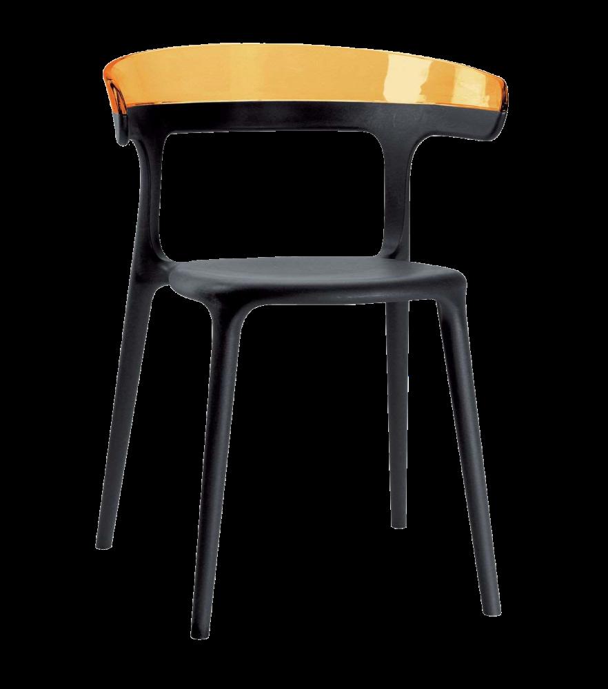 Кресло Papatya Luna черное сиденье, верх прозрачно-оранжевый