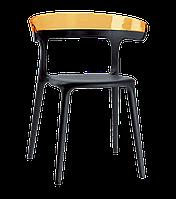 Кресло Papatya Luna черное сиденье, верх прозрачно-оранжевый, фото 1