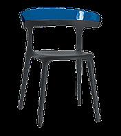 Кресло Papatya Luna черное сиденье, верх прозрачно-синий, фото 1