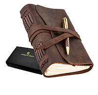 Кожаный Блокнот B6 с фирменной ручкой Comfy Strap из кожи Crazy Horse Подарочная упаковка Светло-коричневый