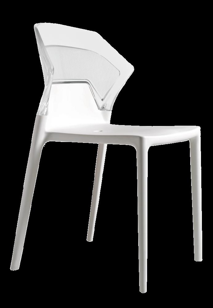 Стул Papatya Ego-S белое сиденье, верх прозрачно-чистый