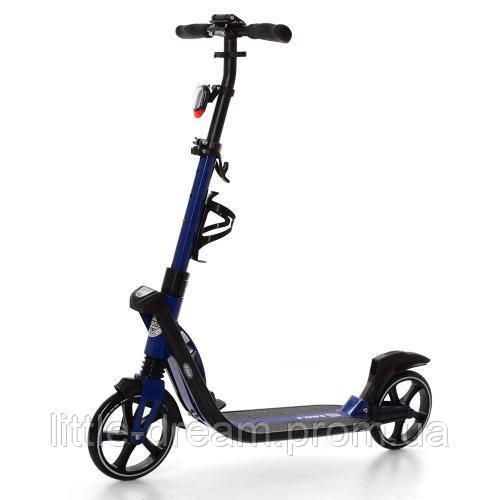 Самокат SR 2-015-1-BL взрослый, алюминиевый, колеса ПУ 200 мм, свет, синий