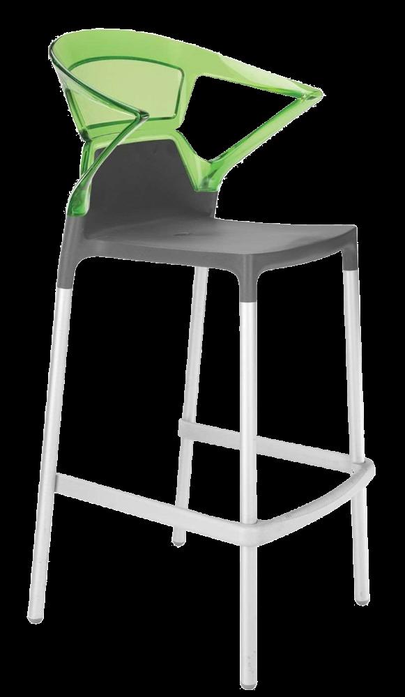 Барное кресло Papatya Ego-K антрацит сиденье, верх прозрачно-зеленый