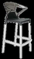 Барное кресло Papatya Ego-K черное сиденье, верх прозрачно-дымчатый, фото 1