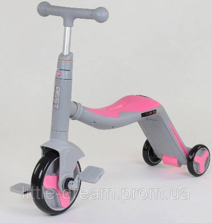 Cамокат-велобег-велосипед 3 в 1 JT 90601, цвет розовый, свет, 8 мелодий, колёса PU