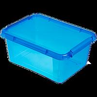 Бокс прямоугольный Orplast 12,5 л с крышкой клипсами голубой
