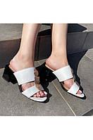 Босоножки из натуральной кожи с квадратным каблуком Lipar Белые