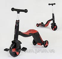 Детский самокат-велобег (беговел)-велосипед 3 в 1 , цвет красный, свет, 8 мелодий, колёса полиуретан