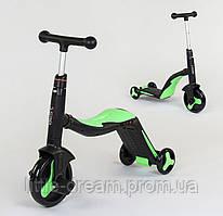 Детский самокат-велобег-велосипед 3 в 1 , цвет салатовый, свет, 8 мелодий, колёса полиуретан