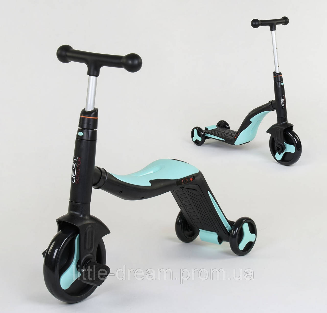 Cамокат-велобег-велосипед 3 в 1 JT 20255, цвет голубой, свет, 8 мелодий, колёса PU