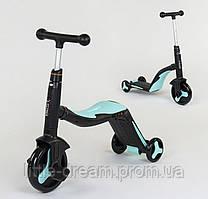 Детский самокат-велобег-велосипед 3 в 1 , цвет голубой, свет, 8 мелодий, колёса полиуретан