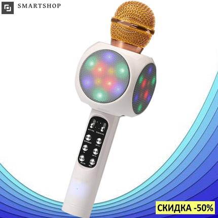Микрофон караоке WSTER WS-1816 - беспроводной Bluetooth микрофон с cветомузыкой, слотом USB и FM тюнером Белый, фото 2
