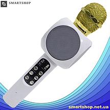 Микрофон караоке WSTER WS-1816 - беспроводной Bluetooth микрофон с cветомузыкой, слотом USB и FM тюнером Белый, фото 3