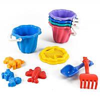 Детский песочный набор:ведерко,сито,лопатка, песочные наборы,игрушки в песочницу
