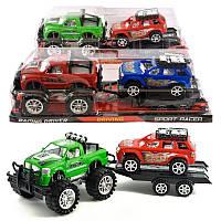 Джип с прицепом, инерерционный, Машина игрушечная пластиковая,Инерционные модели игрушек,Детские пожарные