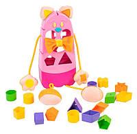 """Игрушка развивающая сортер """"Котик"""" 39290 (Розовый), игрушки для малышей,сотер,деревянные игрушки,самых"""