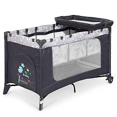 Дитячий манеж-ліжко El Camino Safe Plus Stars Gray (ME 1054)