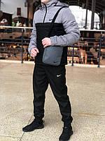 Ветровка Анорак утепленный Найк, Nike светло-серый - черный РАСПРОДАЖА РАЗМЕР S XL, XXL