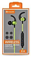 Беспроводные вакуумные Bluetooth наушники Yison E14 Wireless Magnetic зеленые
