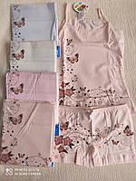 """Комплект нижнего белья майка с трусиками на девочку """"Бабочки"""" от 2 до 8 лет, цвета как на фото"""