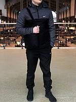 Ветровка Анорак утепленный Найк, Nike темно-серый - черный РАСПРОДАЖА РАЗМЕР L, XXL