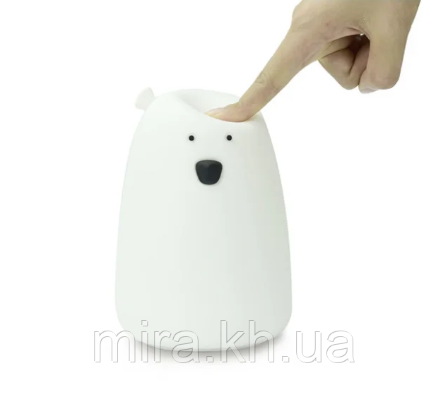 Силиконовый ночник «Мишка белый» 7 цветов 3DTOYSLAMP