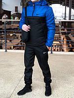Ветровка Анорак утепленный Найк, Nike синий электрик - черный РАСПРОДАЖА РАЗМЕР S, XL, XXL