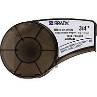 Brady M21-750-403 лента 19.05mm/6.4m растворяющаяся бумага, (черный на белом)