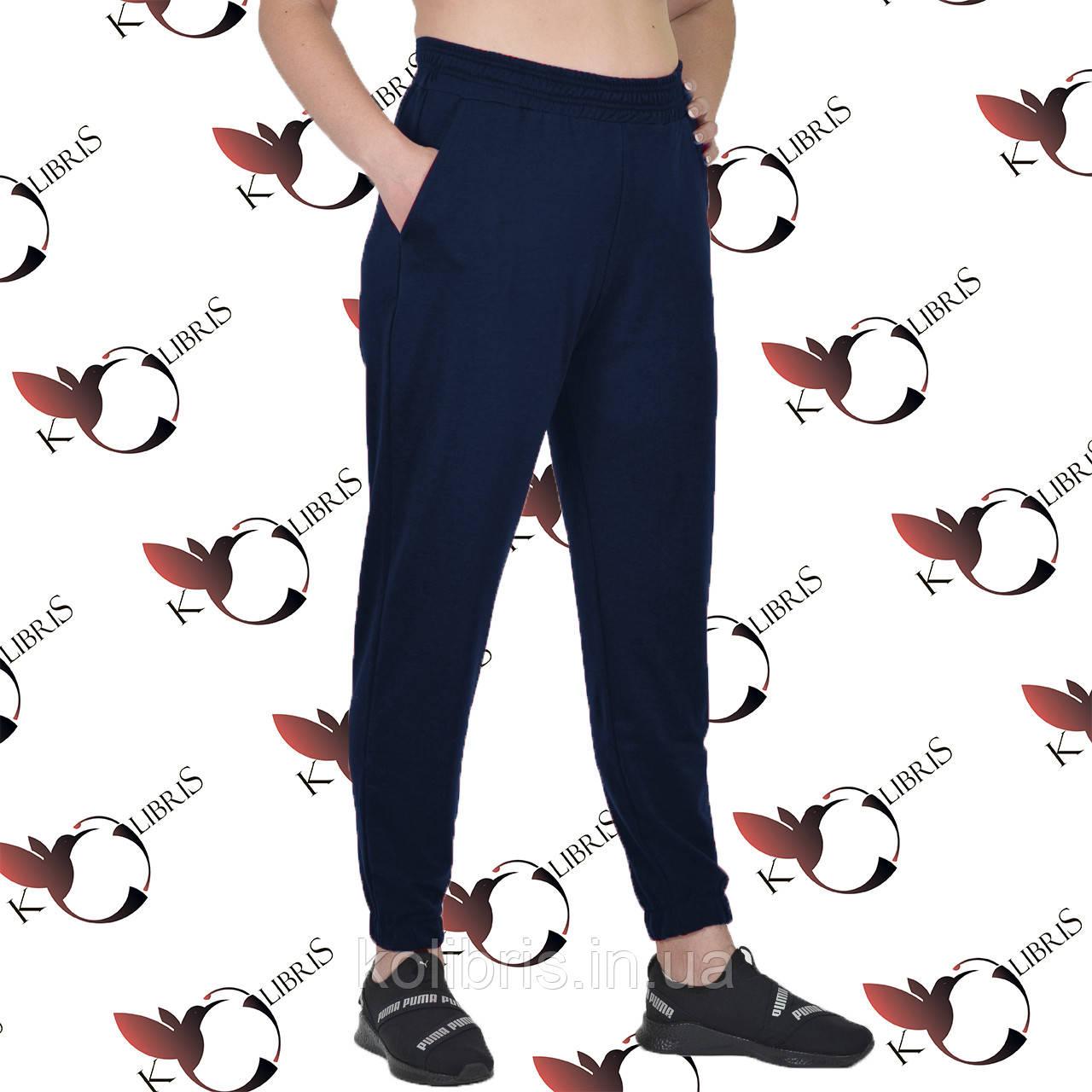 Літні жіночі штани на резинці розміри від 50 до 58 двунітка темно-синього кольору