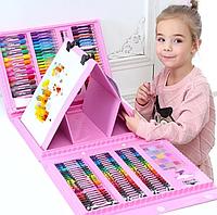Большой набор художника детский для рисования и творчества с мольбертом 208 предметов в кейсе