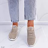 Стильные женские кроссовки бежевые текстиль, фото 2