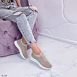 Стильные женские кроссовки бежевые текстиль, фото 3