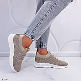 Стильные женские кроссовки бежевые текстиль, фото 4
