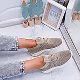 Стильные женские кроссовки бежевые текстиль, фото 5