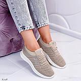 Стильные женские кроссовки бежевые текстиль, фото 7