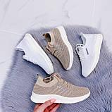 Стильные женские кроссовки бежевые текстиль, фото 9