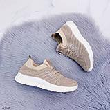 Стильные женские кроссовки бежевые текстиль, фото 8