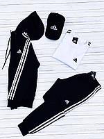 Спортивный костюм Adidas черный мужской с капюшоном осенний | демисезонный Адидас Кофта + Штаны