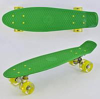 Скейт Пенни Борд (Penny Board) со светящими колесами. 22 дюйма зеленый, фото 1