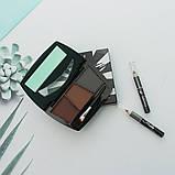 Набір для ідеального макіяжу: триколірні тіні для брів + 2 олівця, тон 1, фото 5