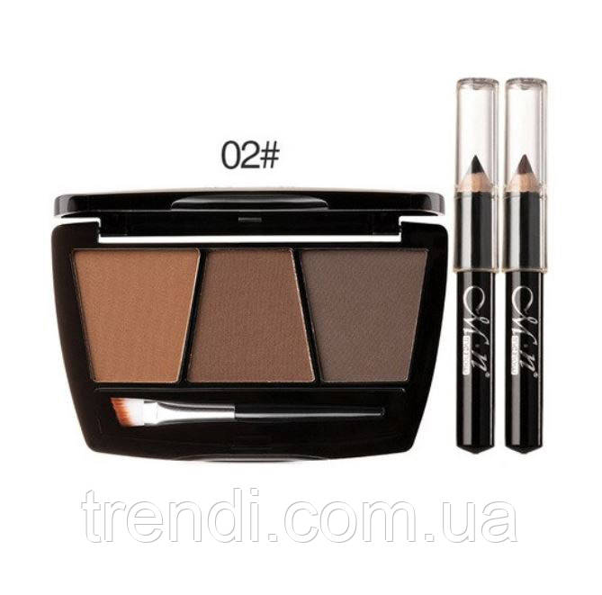 Набір для ідеального макіяжу: тіні для брів + 2 олівця, 2 тон