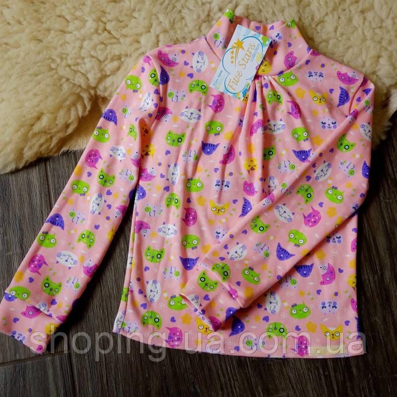 Стильная водолазка - гольф розовая с котиками Five Stars KD0358-128p