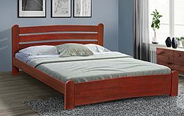 Кровать двуспальная деревянная  Сабрина Микс мебель, цвет темный орех / орех/ каштан