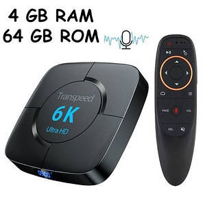Медиаплеер Android 9.0 Smart TV Box H616 4/64ГБ Transpeed T98 6K, Air Mouse