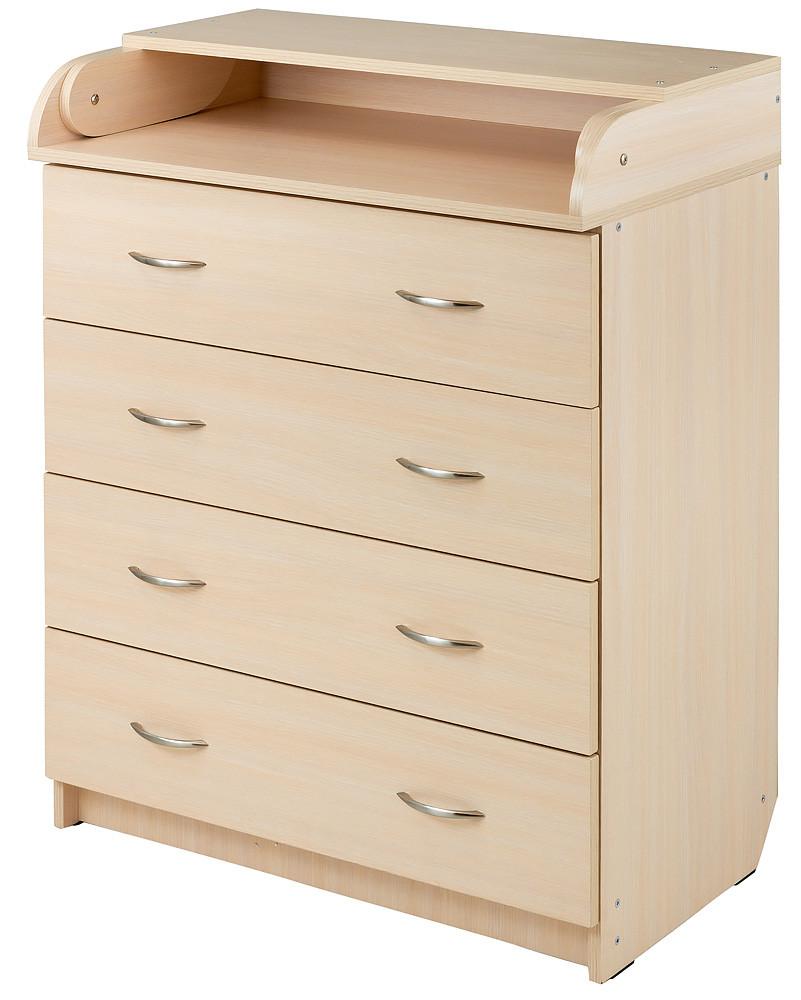 Пеленальний комод Babyroom Комод 4 тел. Big 102x80x50 дуб молочний