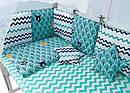 Дитяча постіль Babyroom Classic Bortiki-01 (8 елементів) бірюзовий (ліс), фото 2