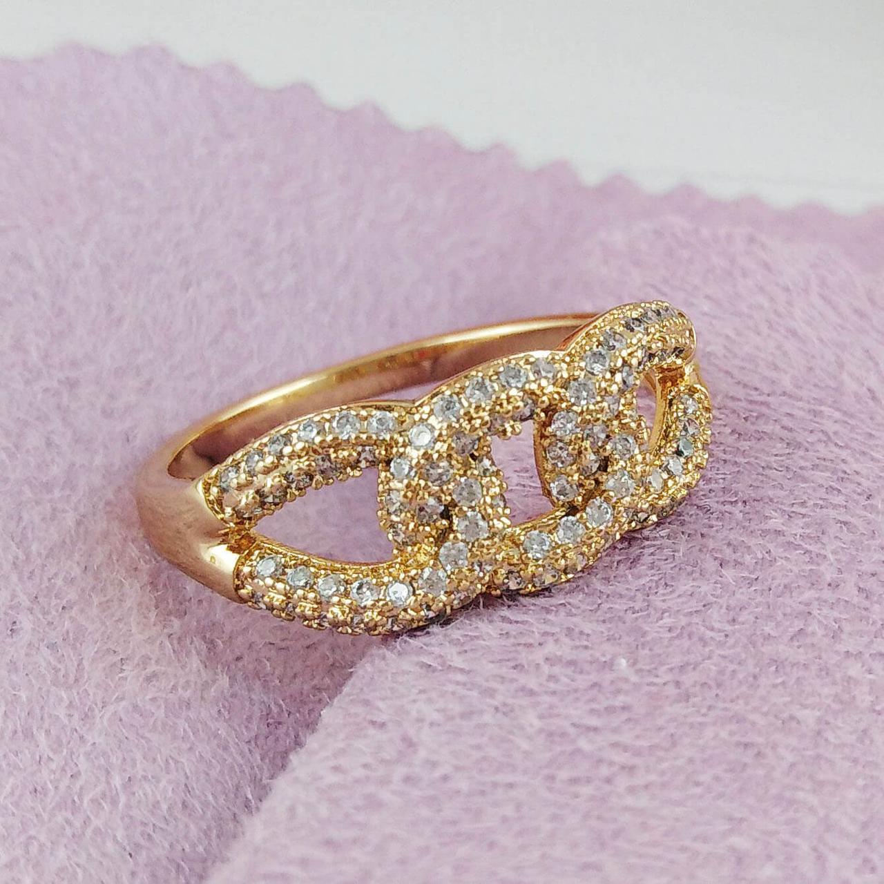 Кольцо Xuping Jewelry размер 17,5 Трио медицинское золото позолота 18К А/В 2-0090